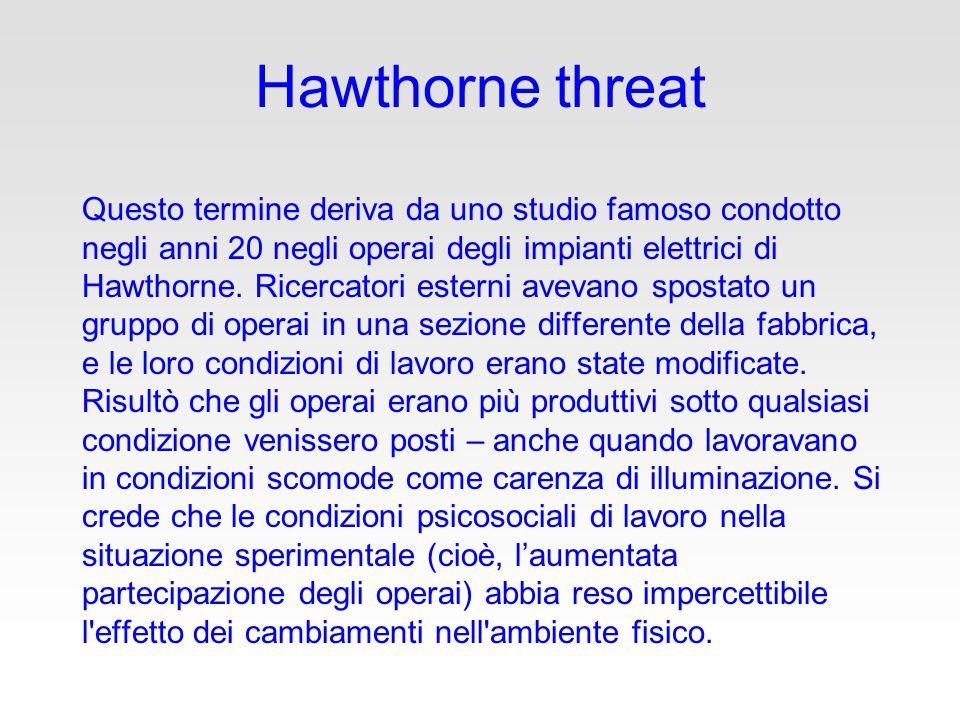 Hawthorne threat Questo termine deriva da uno studio famoso condotto negli anni 20 negli operai degli impianti elettrici di Hawthorne.