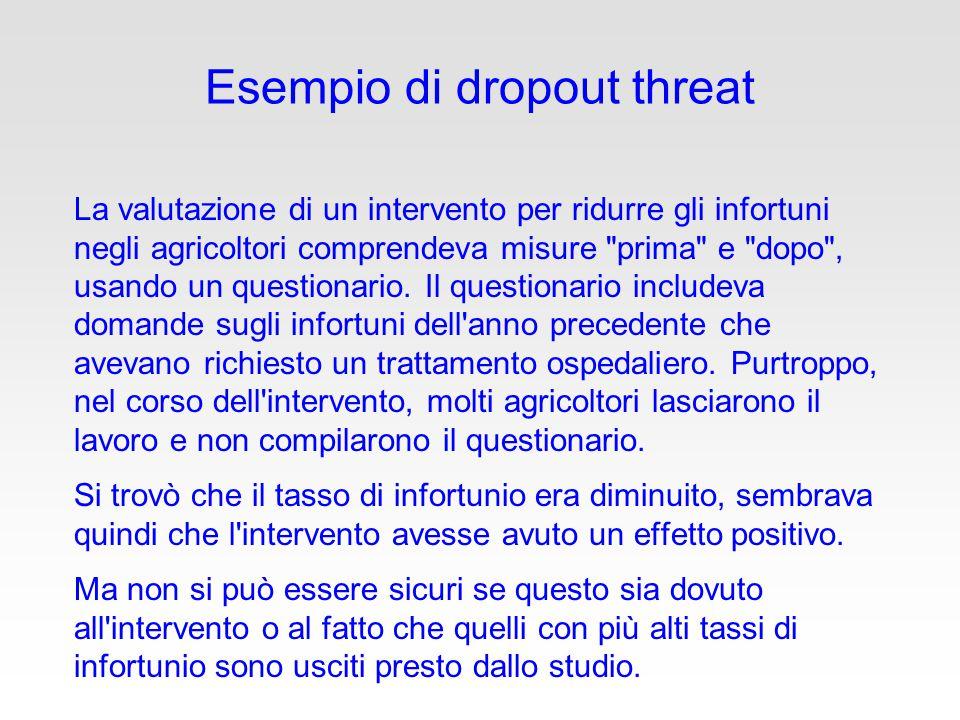 Esempio di dropout threat La valutazione di un intervento per ridurre gli infortuni negli agricoltori comprendeva misure prima e dopo , usando un questionario.