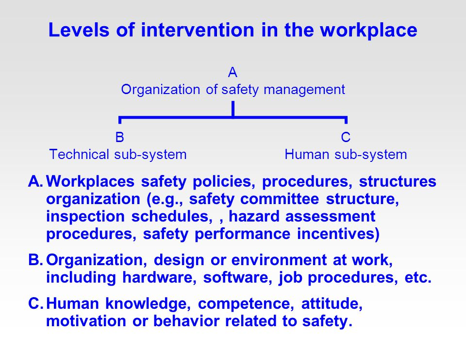 Levels of intervention in the workplace A.Workplaces safety policies, procedures, structures organization (e.g., safety committee structure, inspection schedules,, hazard assessment procedures, safety performance incentives) B.Organization, design or environment at work, including hardware, software, job procedures, etc.