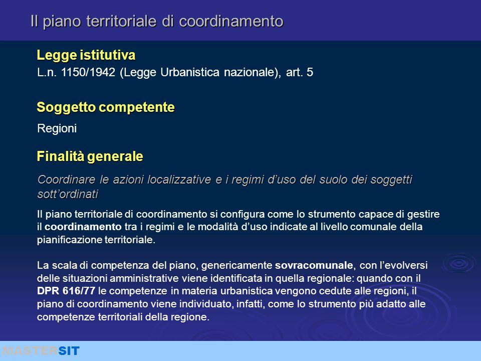 MASTERSIT Il piano territoriale di coordinamento Coordinare le azioni localizzative e i regimi d'uso del suolo dei soggetti sott'ordinati L.n. 1150/19