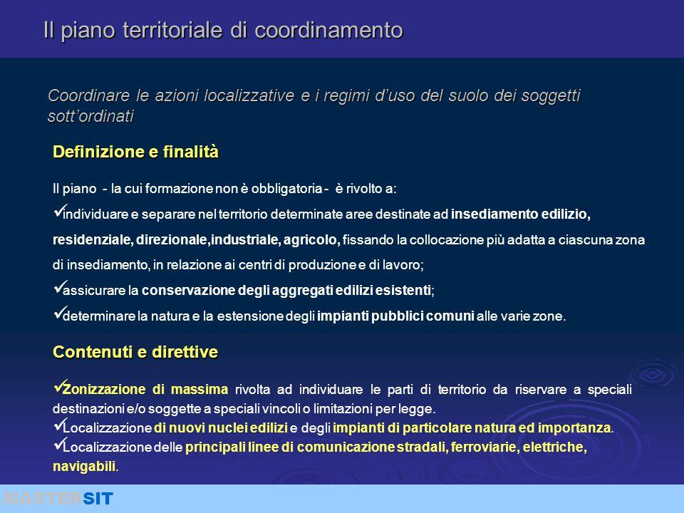 MASTERSIT Coordinare le azioni localizzative e i regimi d'uso del suolo dei soggetti sott'ordinati Il piano - la cui formazione non è obbligatoria - è
