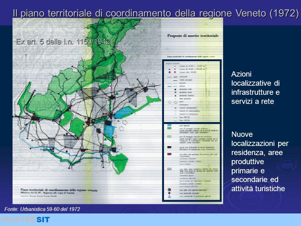 MASTERSIT Il piano territoriale di coordinamento della regione Veneto (1972) Azioni localizzative di infrastrutture e servizi a rete Ex art. 5 della l