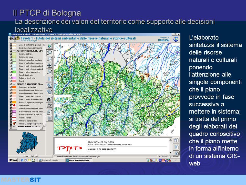 MASTERSIT Il PTCP di Bologna La descrizione dei valori del territorio come supporto alle decisioni localizzative L'elaborato sintetizza il sistema del