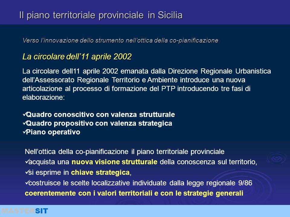 MASTERSIT Il piano territoriale provinciale in Sicilia Verso l'innovazione dello strumento nell'ottica della co-pianificazione La circolare dell'11 ap