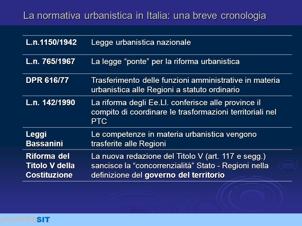 """MASTERSIT La normativa urbanistica in Italia: una breve cronologia L.n.1150/1942 Legge urbanistica nazionale L.n. 765/1967 La legge """"ponte"""" per la rif"""