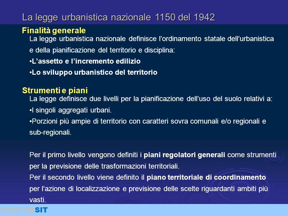 MASTERSIT La legge urbanistica nazionale 1150 del 1942 La legge urbanistica nazionale definisce l'ordinamento statale dell'urbanistica e della pianifi