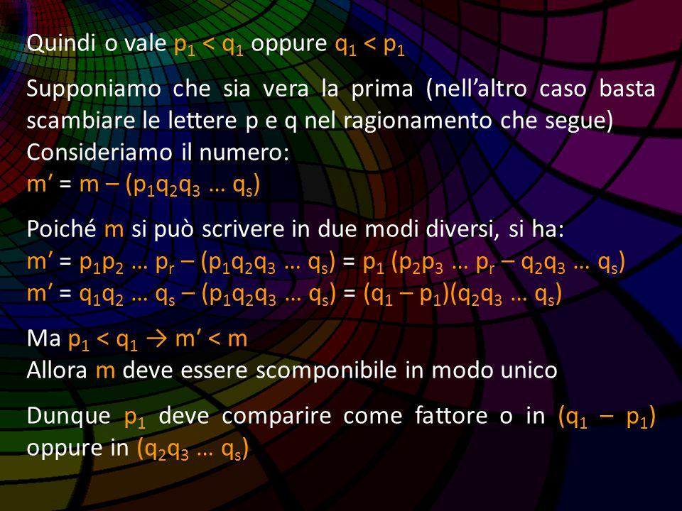 Quindi o vale p 1 < q 1 oppure q 1 < p 1 Supponiamo che sia vera la prima (nell'altro caso basta scambiare le lettere p e q nel ragionamento che segue