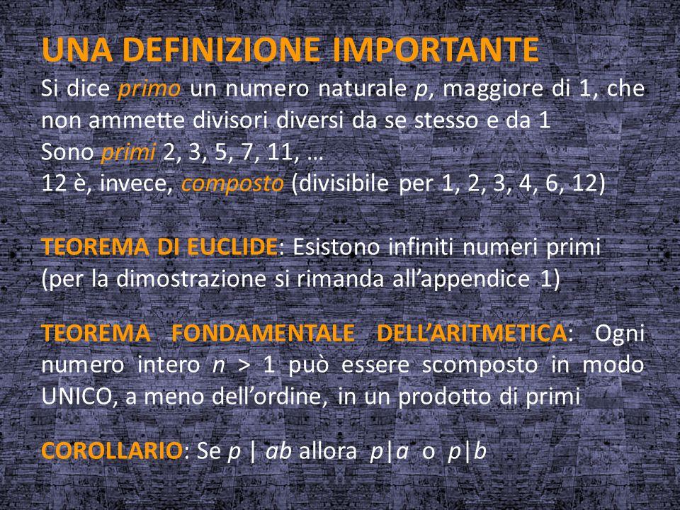UNA DEFINIZIONE IMPORTANTE Si dice primo un numero naturale p, maggiore di 1, che non ammette divisori diversi da se stesso e da 1 Sono primi 2, 3, 5,