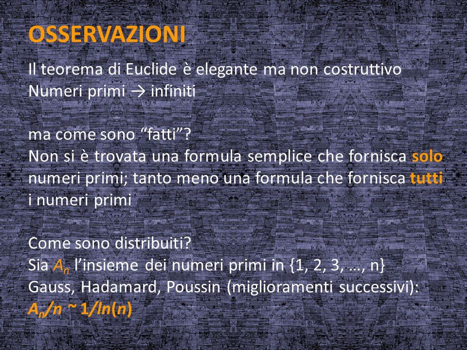 """OSSERVAZIONI Il teorema di Euclide è elegante ma non costruttivo Numeri primi → infiniti ma come sono """"fatti""""? Non si è trovata una formula semplice c"""