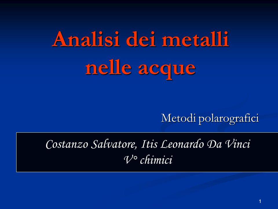 1 Analisi dei metalli nelle acque Metodi polarografici Costanzo Salvatore, Itis Leonardo Da Vinci V° chimici