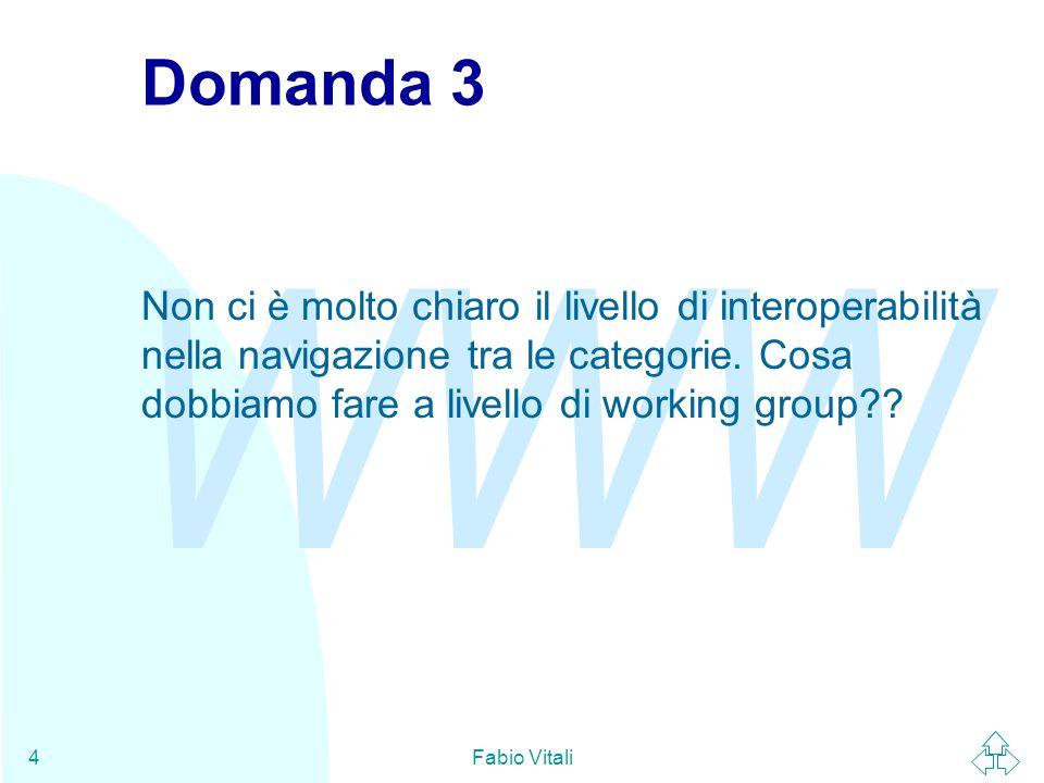 WWW Fabio Vitali4 Domanda 3 Non ci è molto chiaro il livello di interoperabilità nella navigazione tra le categorie.
