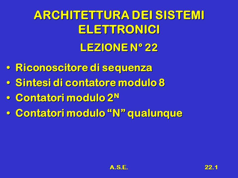 A.S.E.22.1 ARCHITETTURA DEI SISTEMI ELETTRONICI LEZIONE N° 22 Riconoscitore di sequenzaRiconoscitore di sequenza Sintesi di contatore modulo 8Sintesi di contatore modulo 8 Contatori modulo 2 NContatori modulo 2 N Contatori modulo N qualunqueContatori modulo N qualunque