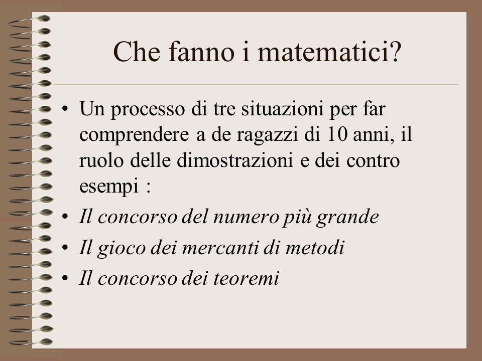 Il concorso del numero più grande Il professore : « Scrivo 5 numeri naturali alla lavagna » « Utilizzando questi 5 nomeri una volta ed una sola, e con l'aiuto delle operazioni che voi conoscete (+, -, x, : ), e che voi sceglierete come voi vorrete, provate ad ottenere un numero il più grande possibile.