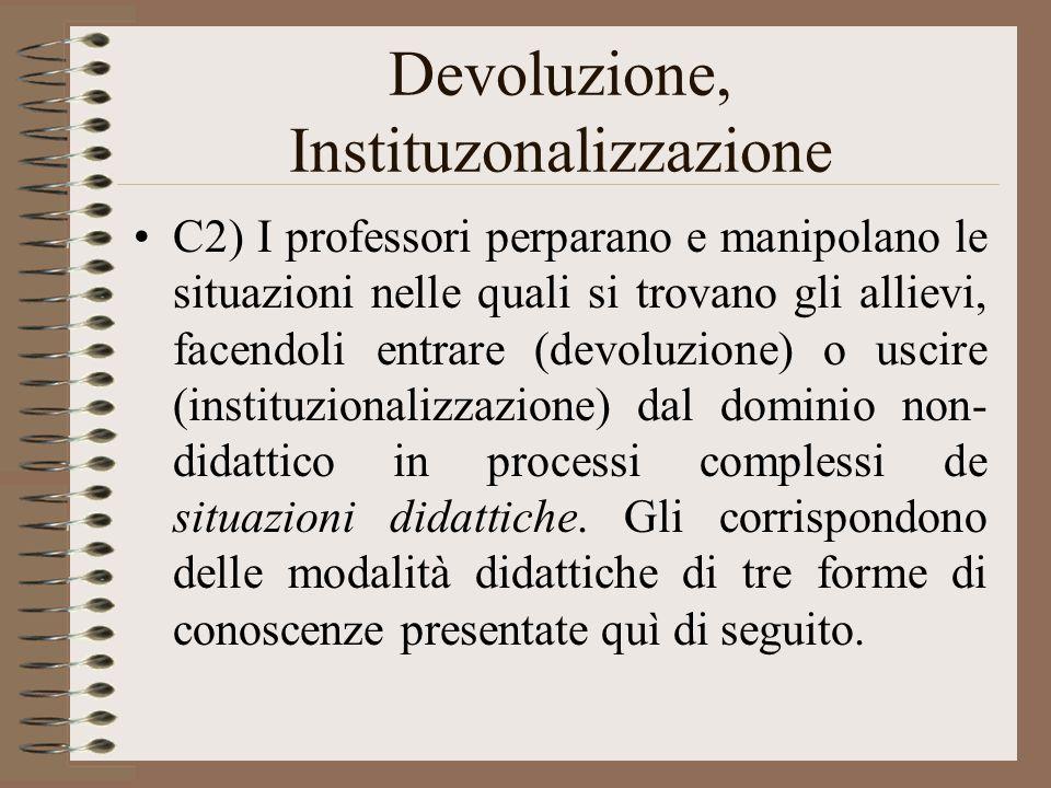 Devoluzione, Instituzonalizzazione C2) I professori perparano e manipolano le situazioni nelle quali si trovano gli allievi, facendoli entrare (devoluzione) o uscire (instituzionalizzazione) dal dominio non- didattico in processi complessi de situazioni didattiche.
