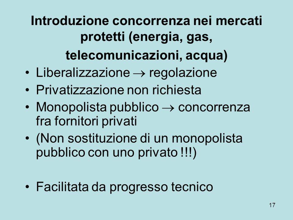 17 Introduzione concorrenza nei mercati protetti (energia, gas, telecomunicazioni, acqua) Liberalizzazione  regolazione Privatizzazione non richiesta