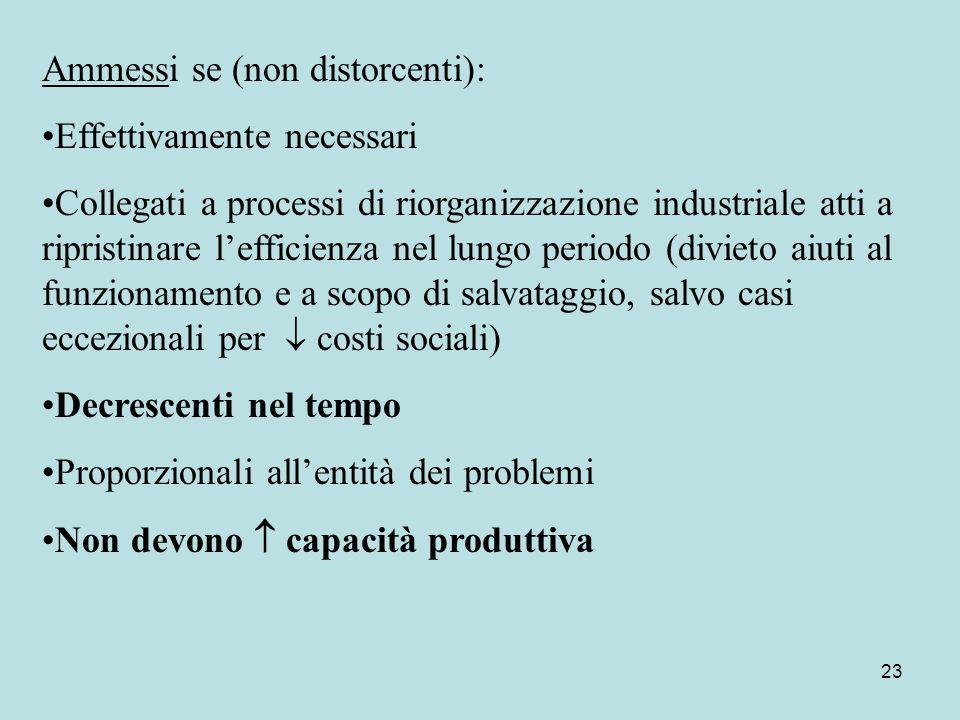 23 Ammessi se (non distorcenti): Effettivamente necessari Collegati a processi di riorganizzazione industriale atti a ripristinare l'efficienza nel lu