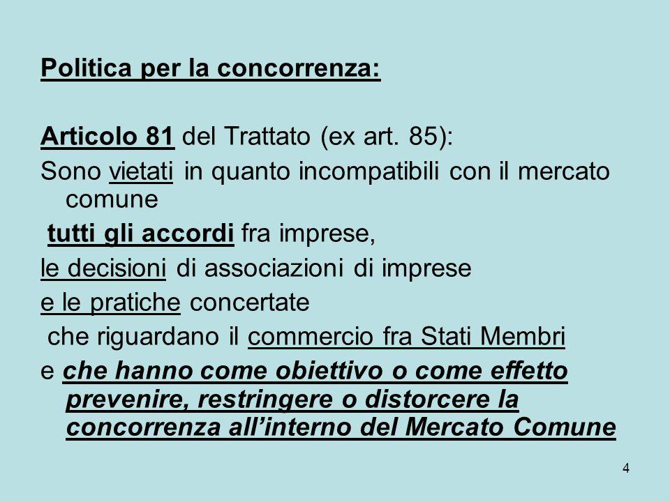 4 Politica per la concorrenza: Articolo 81 del Trattato (ex art. 85): Sono vietati in quanto incompatibili con il mercato comune tutti gli accordi fra
