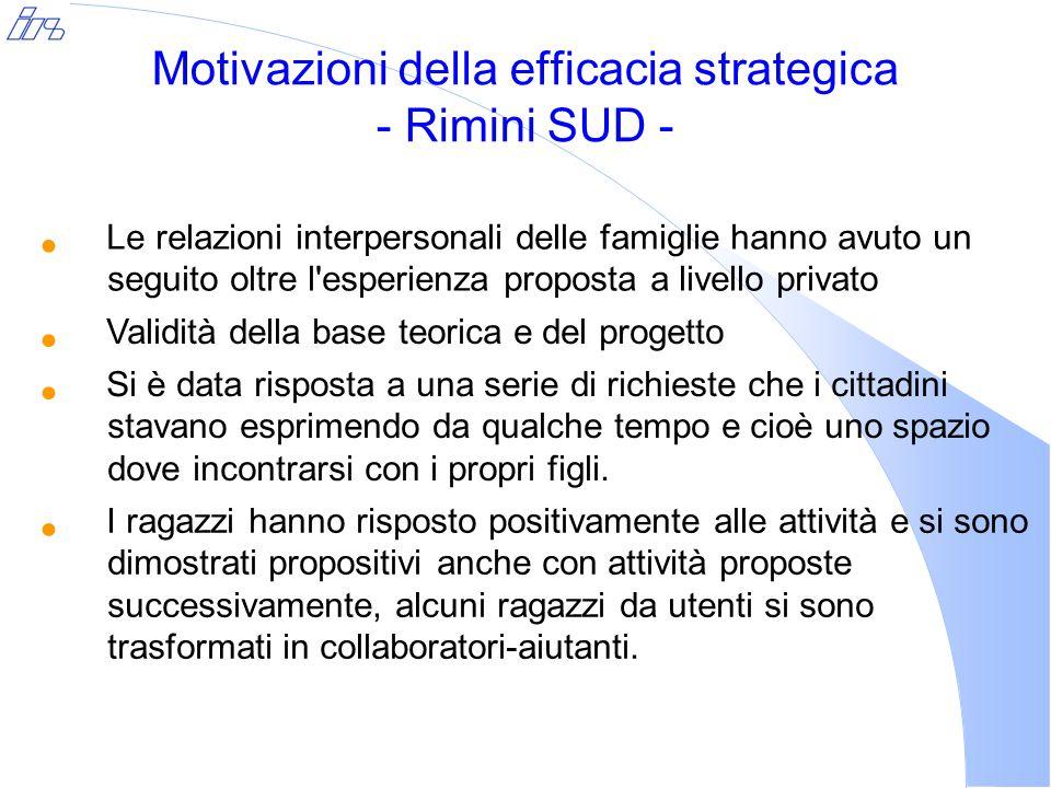 Motivazioni della efficacia strategica - Rimini SUD - Le relazioni interpersonali delle famiglie hanno avuto un seguito oltre l'esperienza proposta a