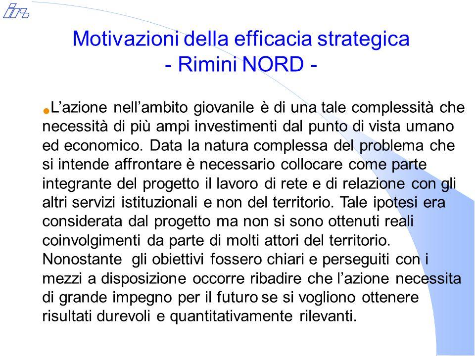 Motivazioni della efficacia strategica - Rimini NORD - L'azione nell'ambito giovanile è di una tale complessità che necessità di più ampi investimenti dal punto di vista umano ed economico.