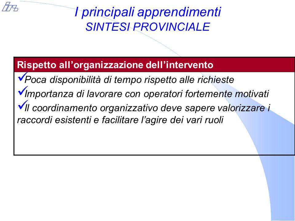 I principali apprendimenti SINTESI PROVINCIALE Rispetto all'organizzazione dell'intervento Poca disponibilità di tempo rispetto alle richieste Importanza di lavorare con operatori fortemente motivati Il coordinamento organizzativo deve sapere valorizzare i raccordi esistenti e facilitare l'agire dei vari ruoli