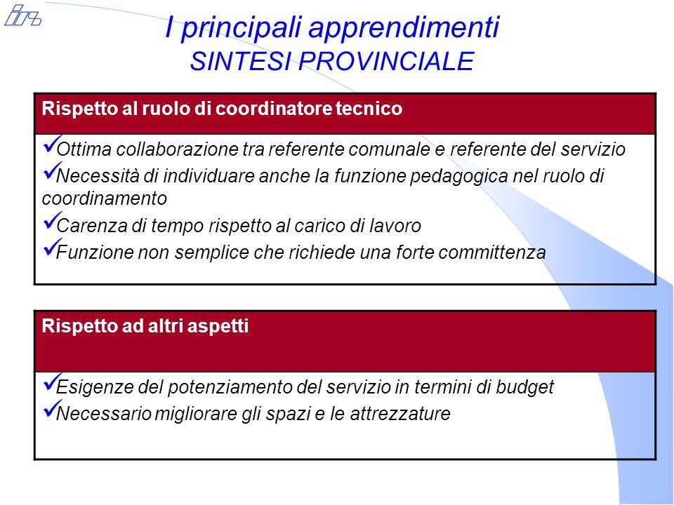 I principali apprendimenti SINTESI PROVINCIALE Rispetto al ruolo di coordinatore tecnico Ottima collaborazione tra referente comunale e referente del