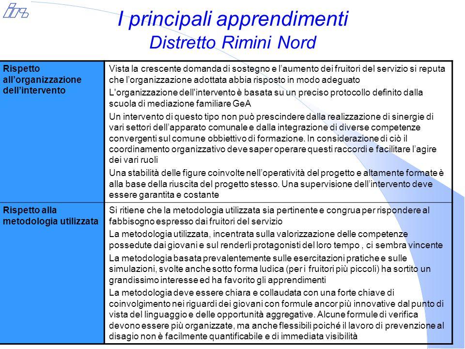 I principali apprendimenti Distretto Rimini Nord Rispetto all'organizzazione dell'intervento Vista la crescente domanda di sostegno e l'aumento dei fr
