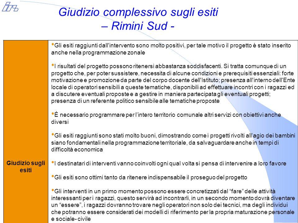 Giudizio complessivo sugli esiti – Rimini Sud - Giudizio sugli esiti Gli esiti raggiunti dall'intervento sono molto positivi, per tale motivo il proge