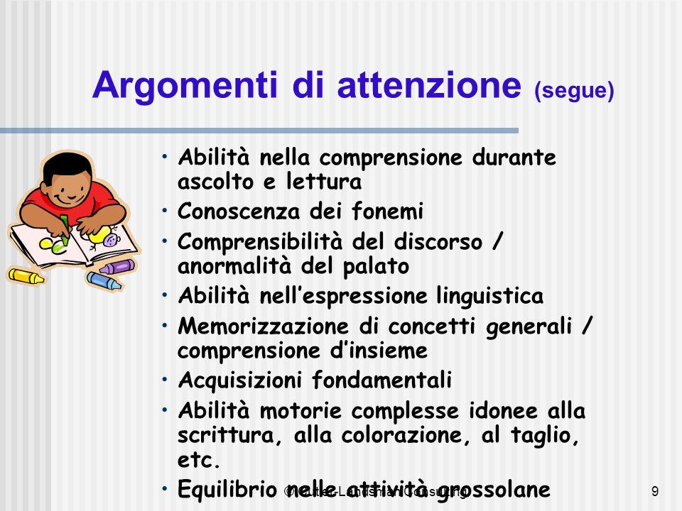 9 Argomenti di attenzione (segue) Abilità nella comprensione durante ascolto e lettura Conoscenza dei fonemi Comprensibilità del discorso / anormalità