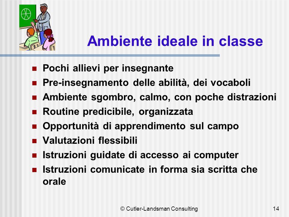 14 Ambiente ideale in classe Pochi allievi per insegnante Pre-insegnamento delle abilità, dei vocaboli Ambiente sgombro, calmo, con poche distrazioni