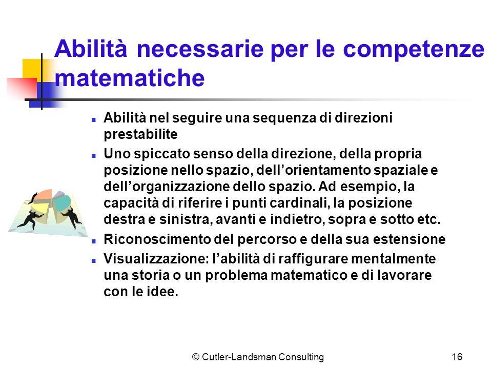 16 Abilità necessarie per le competenze matematiche Abilità nel seguire una sequenza di direzioni prestabilite Uno spiccato senso della direzione, del