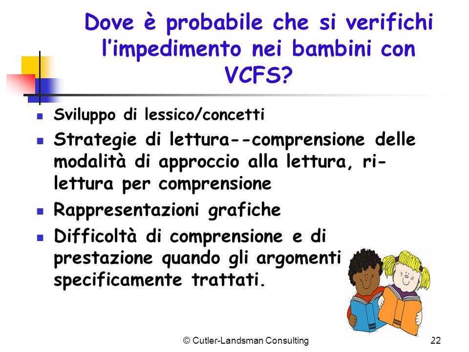 Dove è probabile che si verifichi l'impedimento nei bambini con VCFS? Sviluppo di lessico/concetti Strategie di lettura--comprensione delle modalità d
