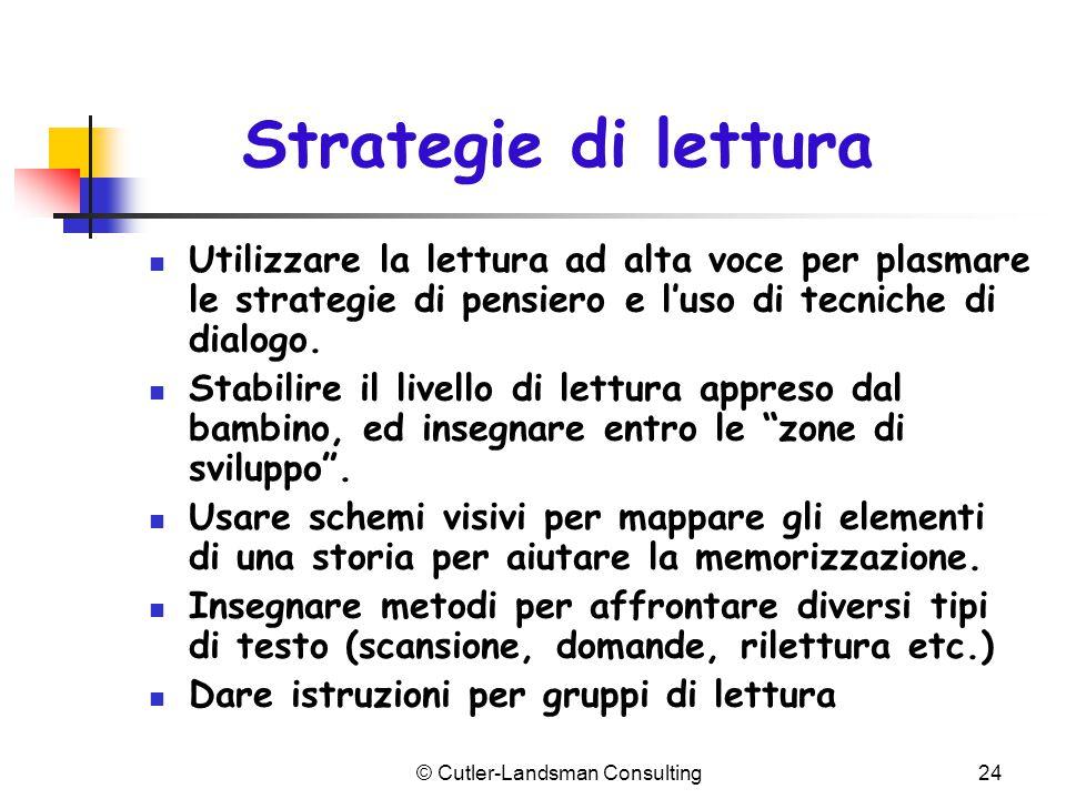 Strategie di lettura Utilizzare la lettura ad alta voce per plasmare le strategie di pensiero e l'uso di tecniche di dialogo. Stabilire il livello di