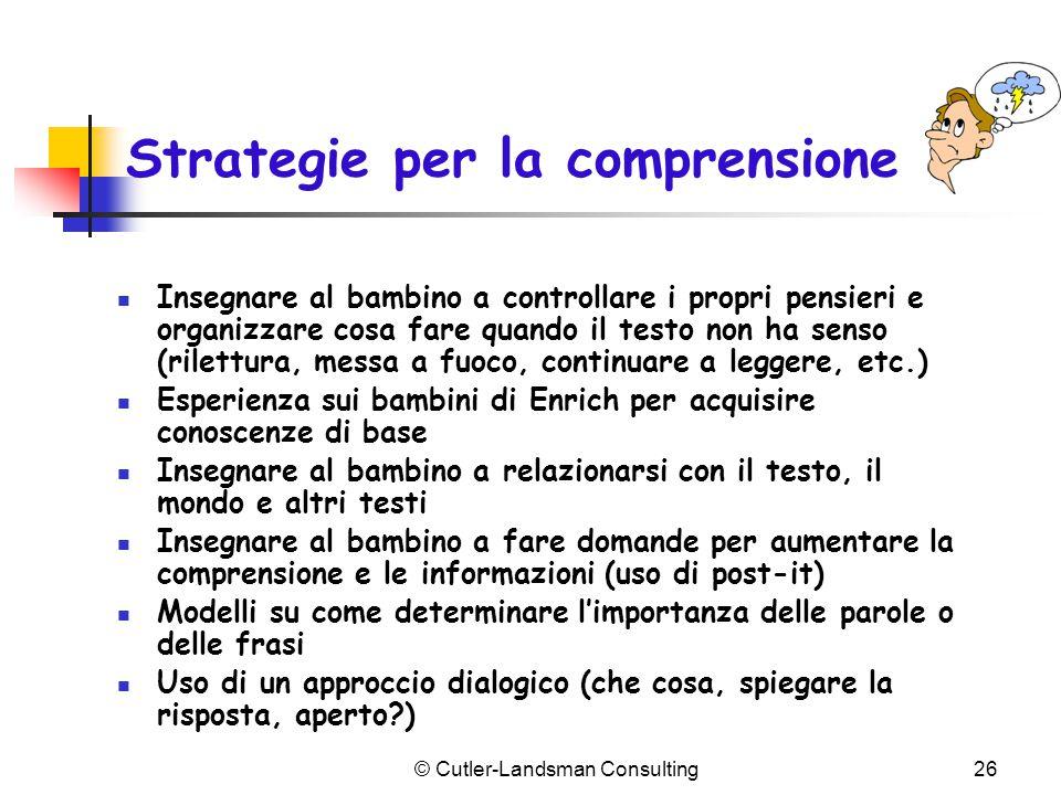 Strategie per la comprensione Insegnare al bambino a controllare i propri pensieri e organizzare cosa fare quando il testo non ha senso (rilettura, me