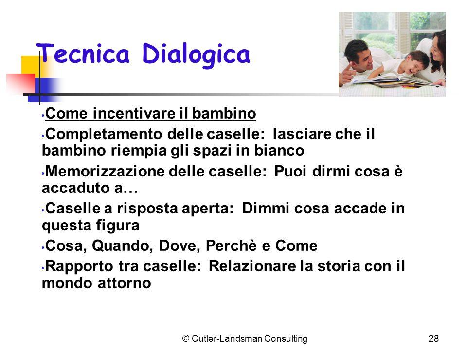 Tecnica Dialogica Come incentivare il bambino Completamento delle caselle: lasciare che il bambino riempia gli spazi in bianco Memorizzazione delle ca