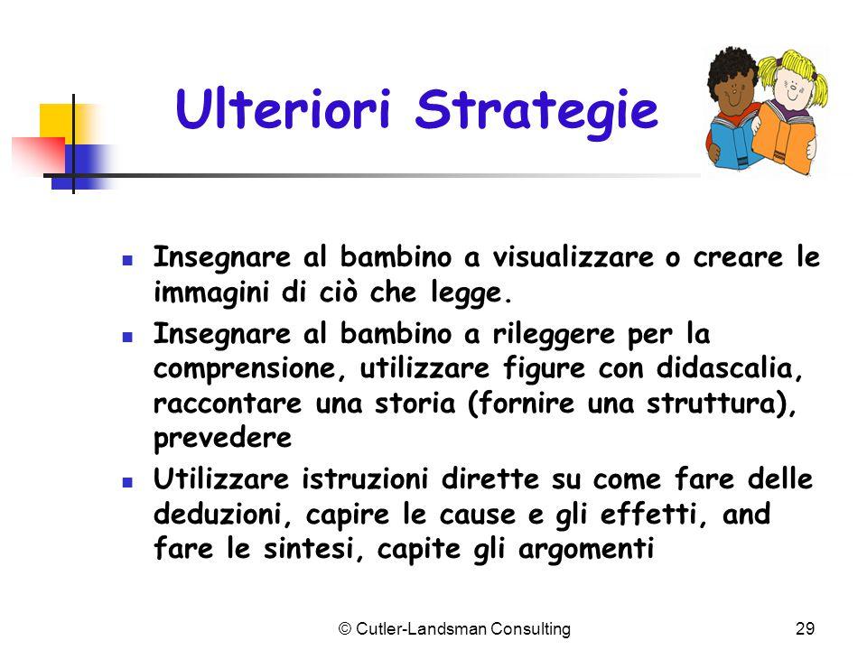 Ulteriori Strategie Insegnare al bambino a visualizzare o creare le immagini di ciò che legge. Insegnare al bambino a rileggere per la comprensione, u