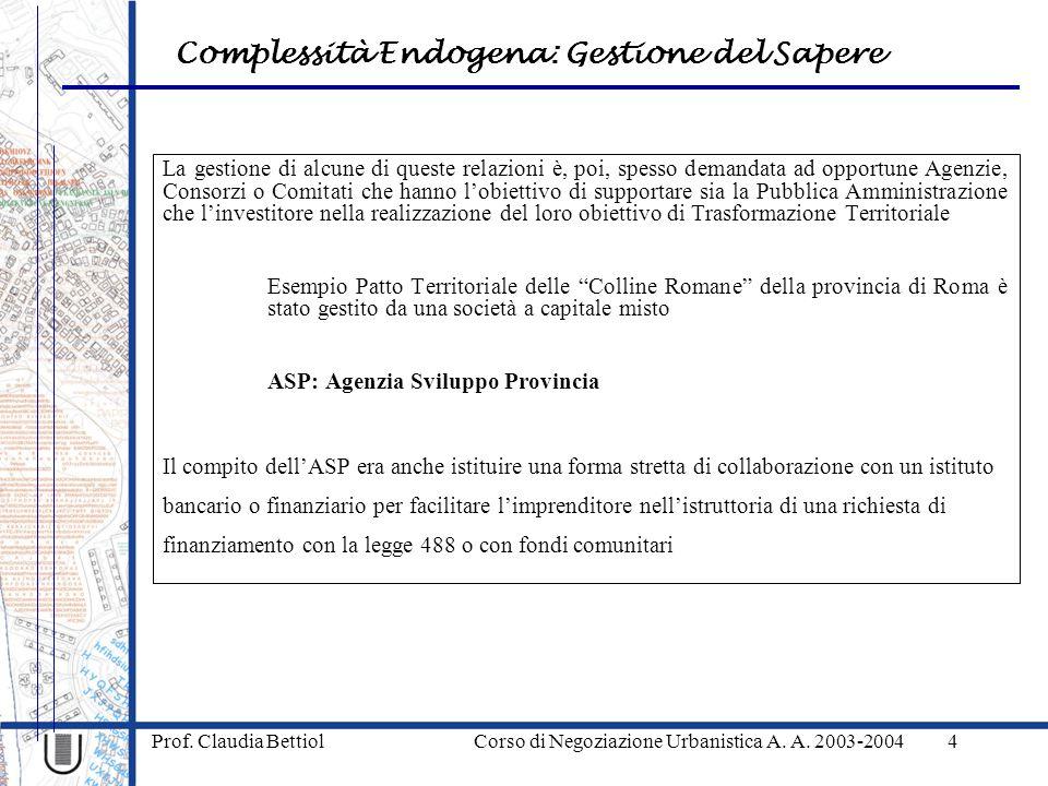 Complessità Endogena: Gestione del Sapere Prof.
