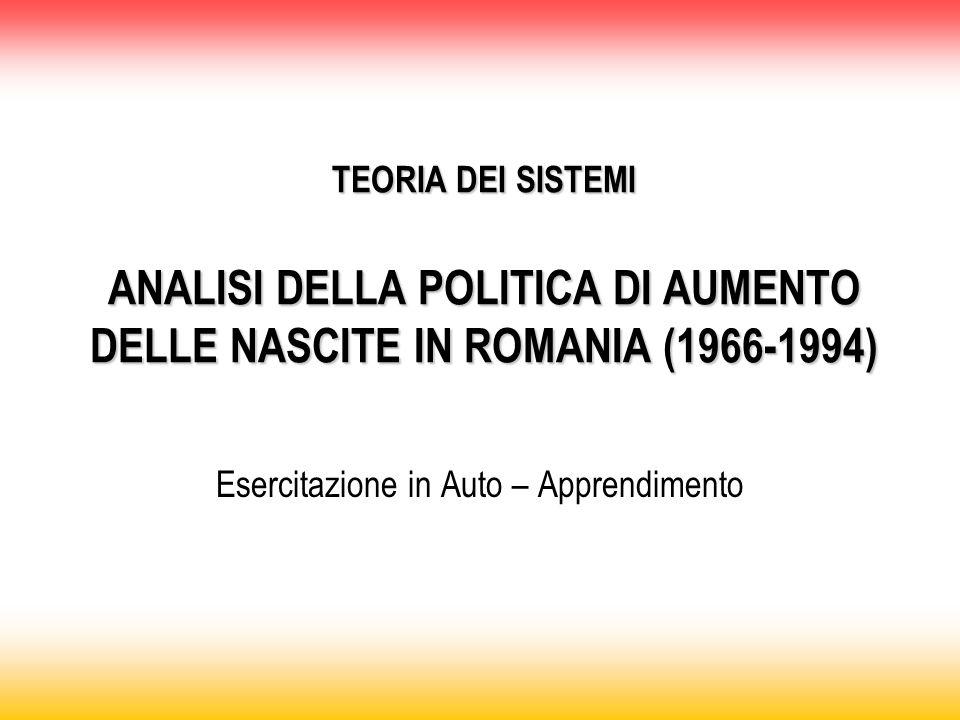 TEORIA DEI SISTEMI ANALISI DELLA POLITICA DI AUMENTO DELLE NASCITE IN ROMANIA (1966-1994) Esercitazione in Auto – Apprendimento