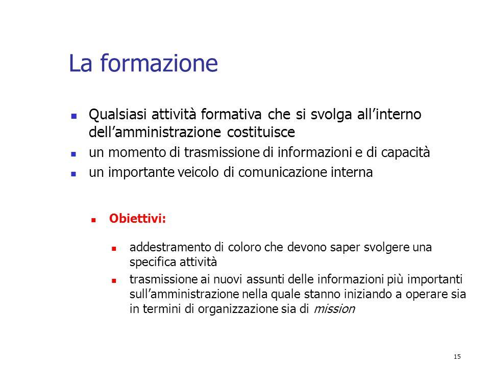 15 La formazione Qualsiasi attività formativa che si svolga all'interno dell'amministrazione costituisce un momento di trasmissione di informazioni e