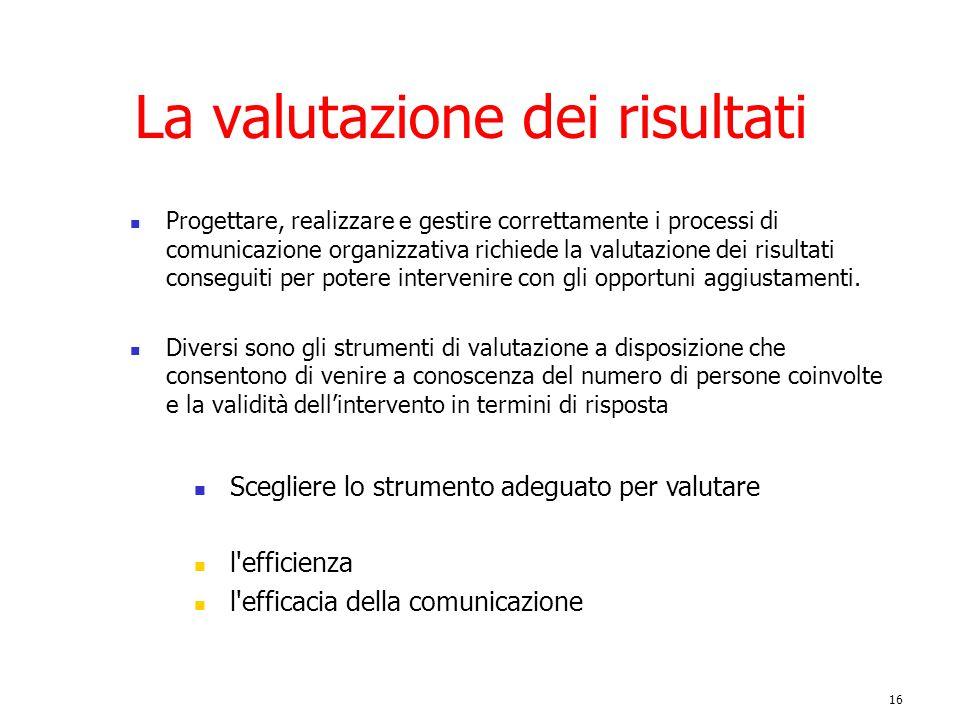 16 La valutazione dei risultati Progettare, realizzare e gestire correttamente i processi di comunicazione organizzativa richiede la valutazione dei r