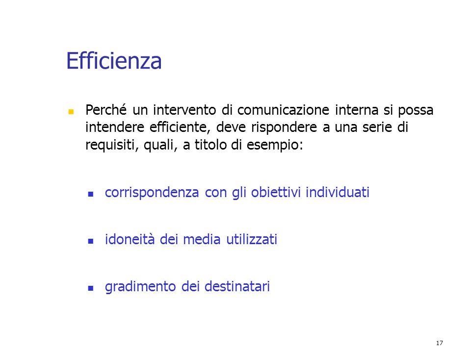 17 Efficienza Perché un intervento di comunicazione interna si possa intendere efficiente, deve rispondere a una serie di requisiti, quali, a titolo d