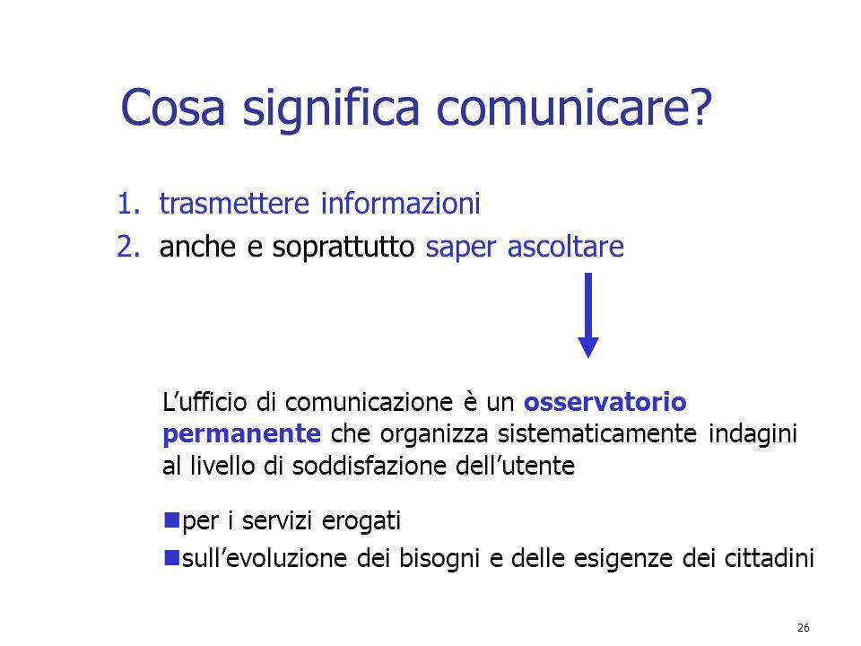 26 Cosa significa comunicare? 1.trasmettere informazioni L'ufficio di comunicazione è un osservatorio permanente che organizza sistematicamente indagi