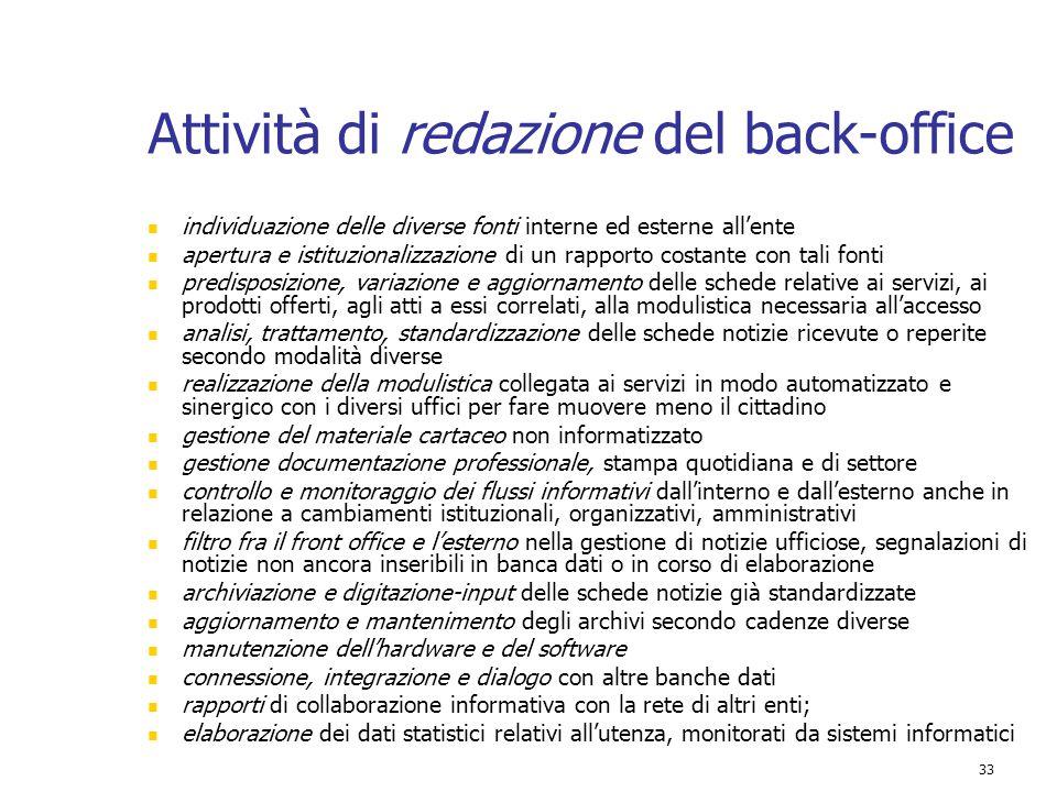 33 Attività di redazione del back-office individuazione delle diverse fonti interne ed esterne all'ente apertura e istituzionalizzazione di un rapport