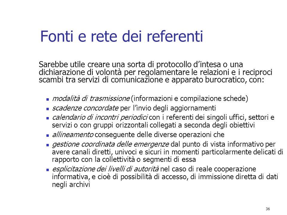 36 Fonti e rete dei referenti Sarebbe utile creare una sorta di protocollo d'intesa o una dichiarazione di volontà per regolamentare le relazioni e i