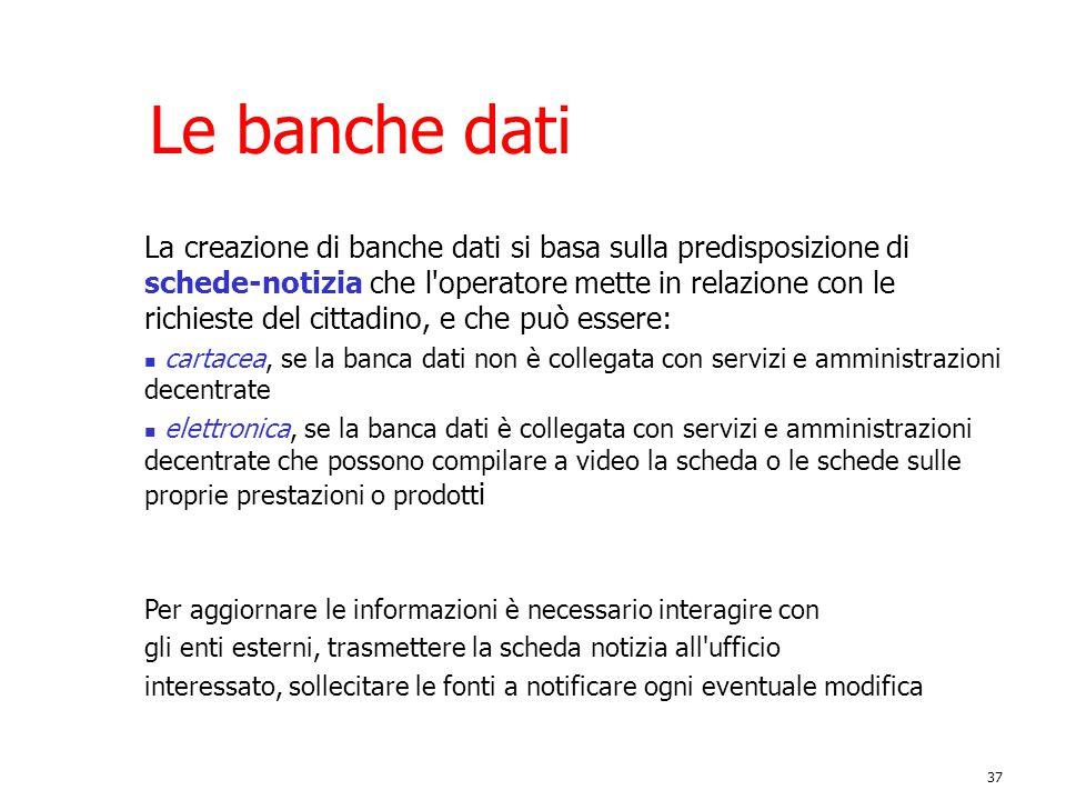 37 Le banche dati La creazione di banche dati si basa sulla predisposizione di schede-notizia che l'operatore mette in relazione con le richieste del