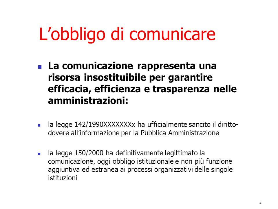4 L'obbligo di comunicare La comunicazione rappresenta una risorsa insostituibile per garantire efficacia, efficienza e trasparenza nelle amministrazi