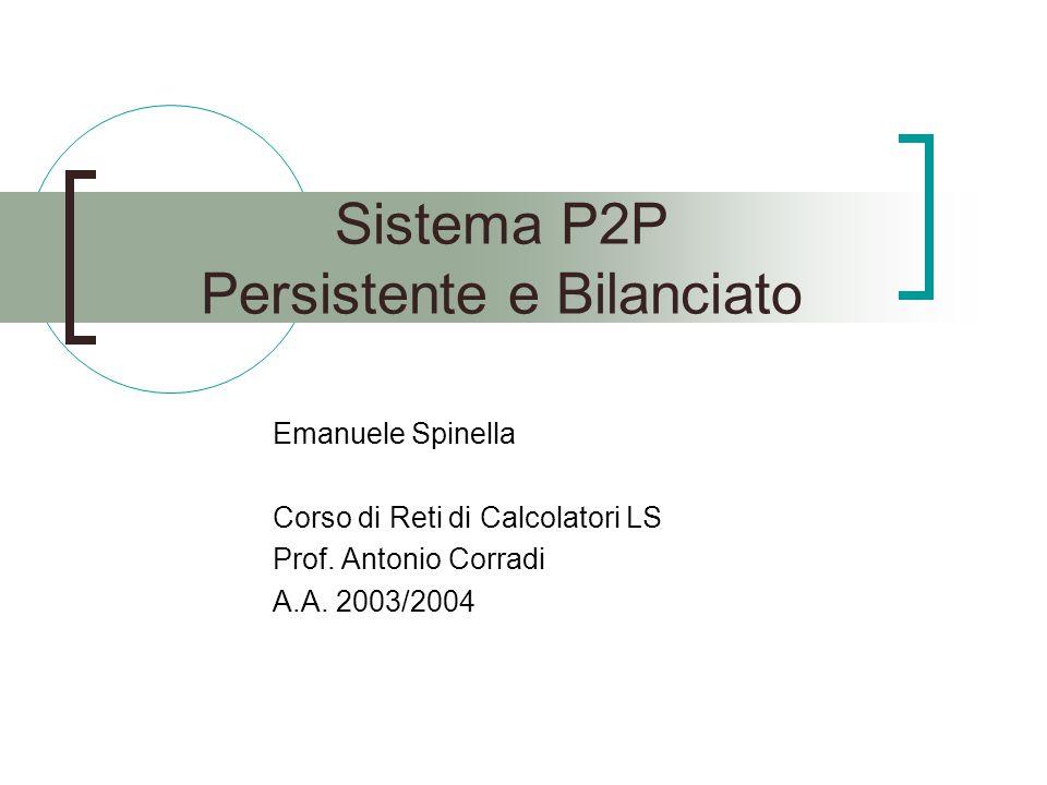 Sistema P2P Persistente e Bilanciato Emanuele Spinella Corso di Reti di Calcolatori LS Prof.