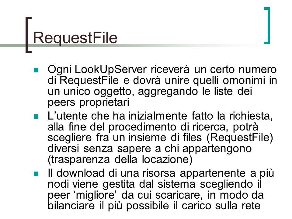 Ogni LookUpServer riceverà un certo numero di RequestFile e dovrà unire quelli omonimi in un unico oggetto, aggregando le liste dei peers proprietari L'utente che ha inizialmente fatto la richiesta, alla fine del procedimento di ricerca, potrà scegliere fra un insieme di files (RequestFile) diversi senza sapere a chi appartengono (trasparenza della locazione) Il download di una risorsa appartenente a più nodi viene gestita dal sistema scegliendo il peer 'migliore' da cui scaricare, in modo da bilanciare il più possibile il carico sulla rete