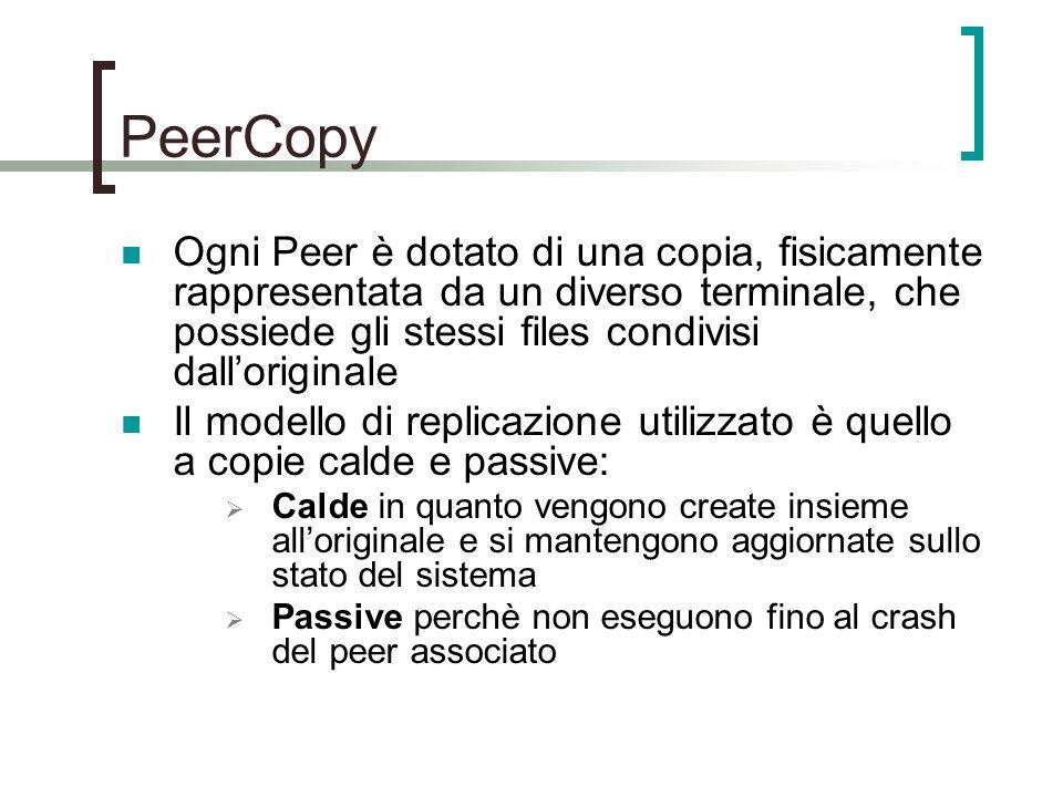 PeerCopy Ogni Peer è dotato di una copia, fisicamente rappresentata da un diverso terminale, che possiede gli stessi files condivisi dall'originale Il modello di replicazione utilizzato è quello a copie calde e passive:  Calde in quanto vengono create insieme all'originale e si mantengono aggiornate sullo stato del sistema  Passive perchè non eseguono fino al crash del peer associato