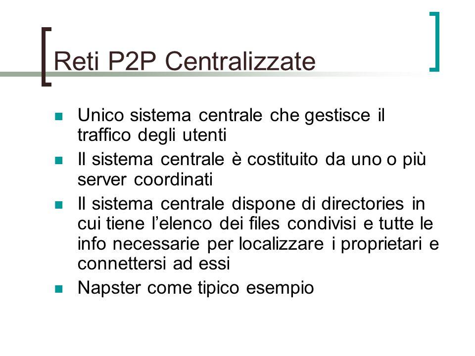 Reti P2P Centralizzate Unico sistema centrale che gestisce il traffico degli utenti Il sistema centrale è costituito da uno o più server coordinati Il sistema centrale dispone di directories in cui tiene l'elenco dei files condivisi e tutte le info necessarie per localizzare i proprietari e connettersi ad essi Napster come tipico esempio