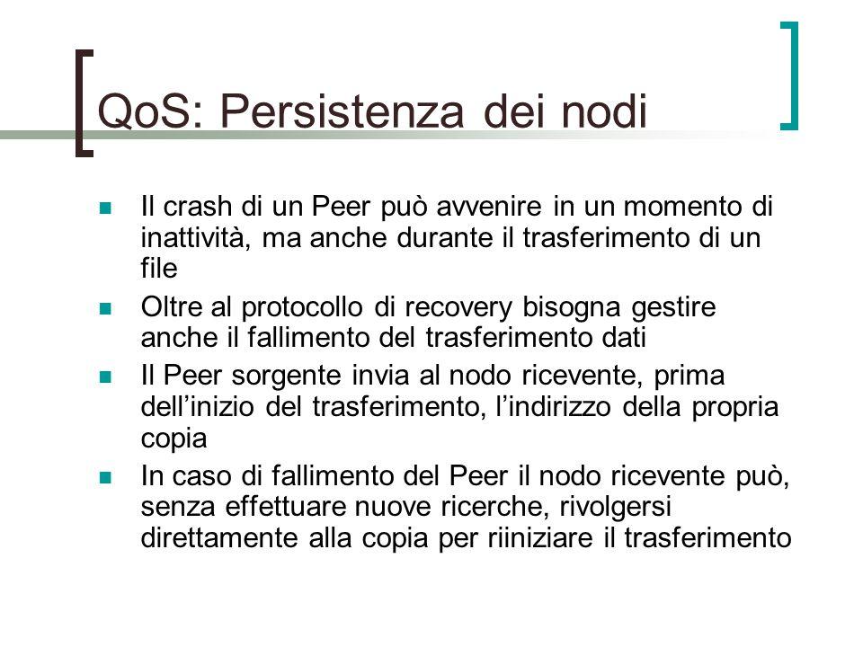 QoS: Persistenza dei nodi Il crash di un Peer può avvenire in un momento di inattività, ma anche durante il trasferimento di un file Oltre al protocollo di recovery bisogna gestire anche il fallimento del trasferimento dati Il Peer sorgente invia al nodo ricevente, prima dell'inizio del trasferimento, l'indirizzo della propria copia In caso di fallimento del Peer il nodo ricevente può, senza effettuare nuove ricerche, rivolgersi direttamente alla copia per riiniziare il trasferimento